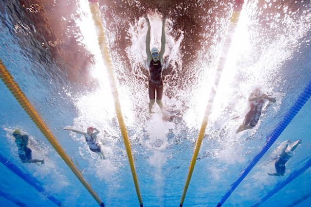 <p>Katinka Hosszu of Hungary leads the pack in heat five of the Women's 400m Individual Medley on Day 1 of the Rio 2016 Olympic Games at the Olympic Aquatics Stadium on August 6, 2016 in Rio de Janeiro, Brazil. (Photo by Al Bello/Getty Images) </p>