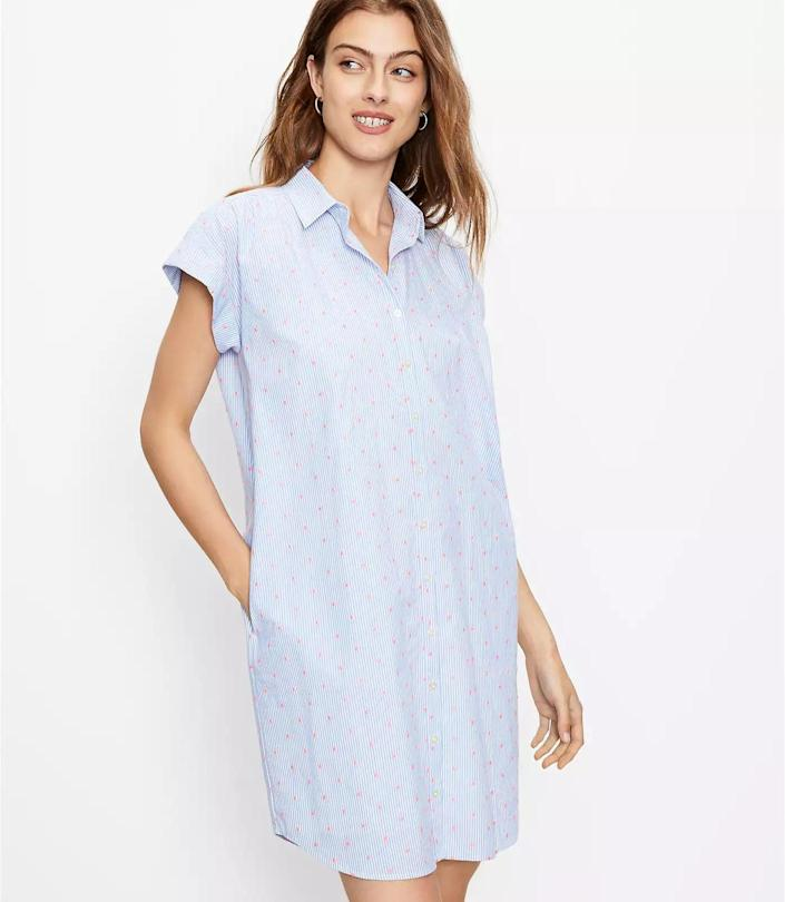 <p>This <span>Loft Clip Dot Dolman Shirtdress</span> ($40 with code WOW, originally $90) will look fresh with white sneakers and a baseball cap on your off-duty days. It exudes confidence and modern femininity. </p>