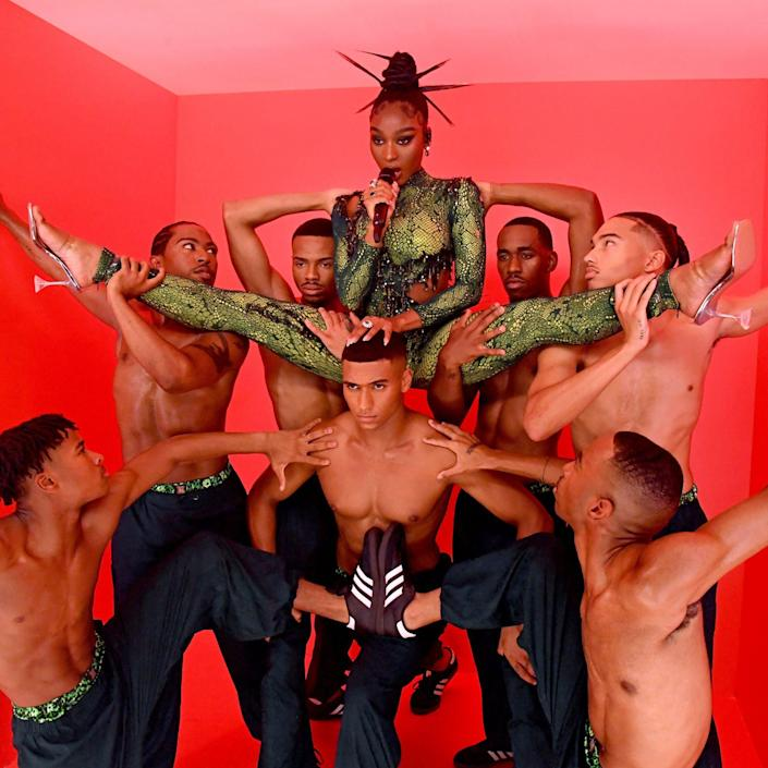 <p>Normani defies gravity on Sept. 23 while performing at Rihanna's Savage X Fenty show Vol. 3 presented by Amazon Prime Video at The Westin Bonaventure Hotel & Suites in Los Angeles.</p>