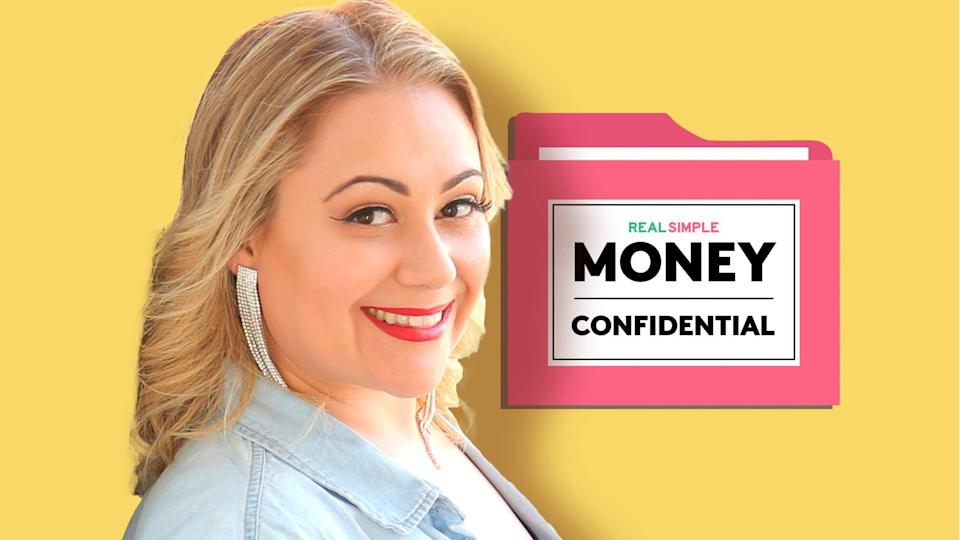 photo of 17 Jannese Torres-Rodriguez in front of the Money Confidential Logo