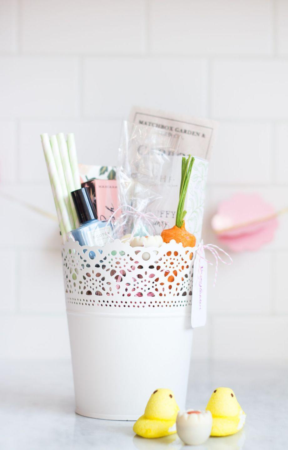 "<p>For an ultra-feminine Easter basket, fill a pretty planter with <a href=""https://www.oprahdaily.com/beauty/a33499050/beauty-owards-2020/"" rel=""nofollow noopener"" target=""_blank"" data-ylk=""slk:beloved beauty products"" class=""link rapid-noclick-resp"">beloved beauty products</a>. </p><p>Get the tutorial at <a href=""http://www.theblondielocks.com/easter-basket-inspiration/"" rel=""nofollow noopener"" target=""_blank"" data-ylk=""slk:The Blondie Locks."" class=""link rapid-noclick-resp"">The Blondie Locks.</a></p><p><a class=""link rapid-noclick-resp"" href=""https://www.amazon.com/MyGift-Ceramic-Vintage-Style-Hobnail-Textured/dp/B00SWBSZE2?tag=syn-yahoo-20&ascsubtag=%5Bartid%7C10072.g.30506642%5Bsrc%7Cyahoo-us"" rel=""nofollow noopener"" target=""_blank"" data-ylk=""slk:SHOP PLANTER"">SHOP PLANTER</a></p>"