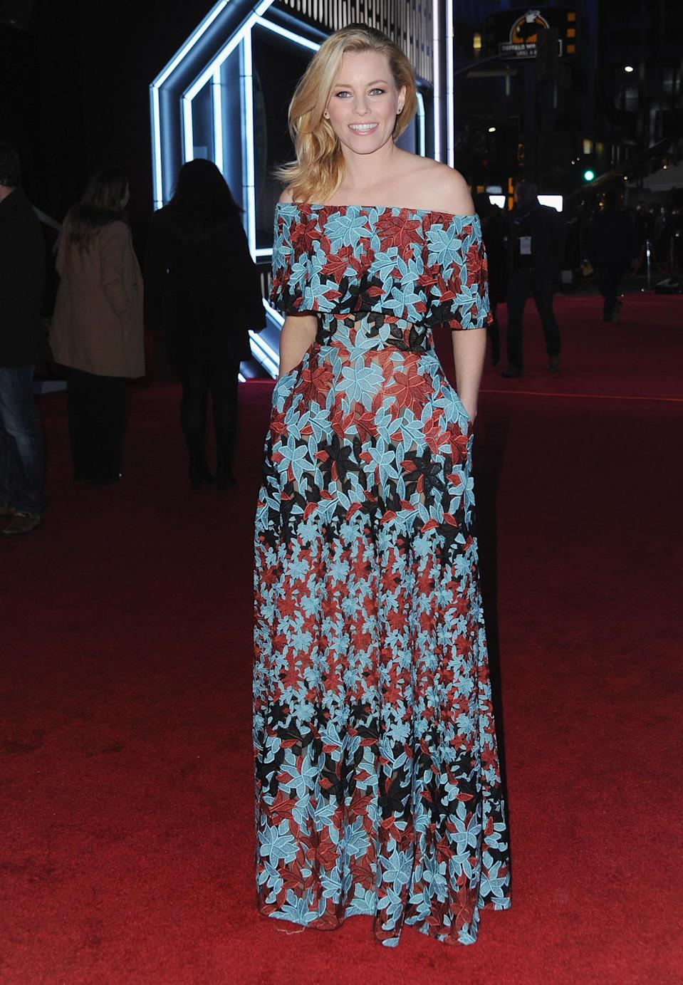 <p>Banks brought some much-needed color to the <i>Star Wars</i> red carpet, wearing a blue, red, and black lace dress by Elie Saab. </p><p><i>Photo: Getty Images</i><br></p>