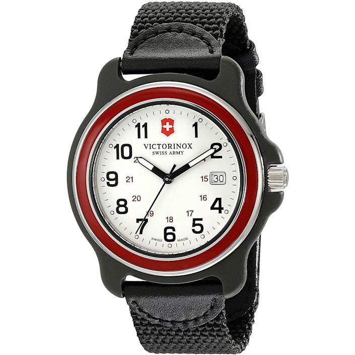 """<p><strong>Victorinox</strong></p><p>amazon.com</p><p><strong>186.64</strong></p><p><a href=""""https://www.amazon.com/dp/B00OKYMY5Q?tag=syn-yahoo-20&ascsubtag=%5Bartid%7C10054.g.35351418%5Bsrc%7Cyahoo-us"""" rel=""""nofollow noopener"""" target=""""_blank"""" data-ylk=""""slk:Shop Now"""" class=""""link rapid-noclick-resp"""">Shop Now</a></p><p>Victorinox's Original XL <em>also</em> comes with a very Swiss Army Knife-y red bezel.</p>"""