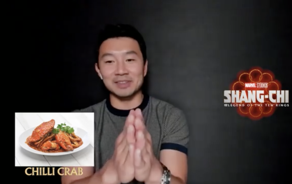 Simu Liu and Ronny Chieng, stars of Shang-chi And The Legend Of The Ten Rings, on what Singaporean dishes they would eat. One of the dishes Simu picked was chilli crab.