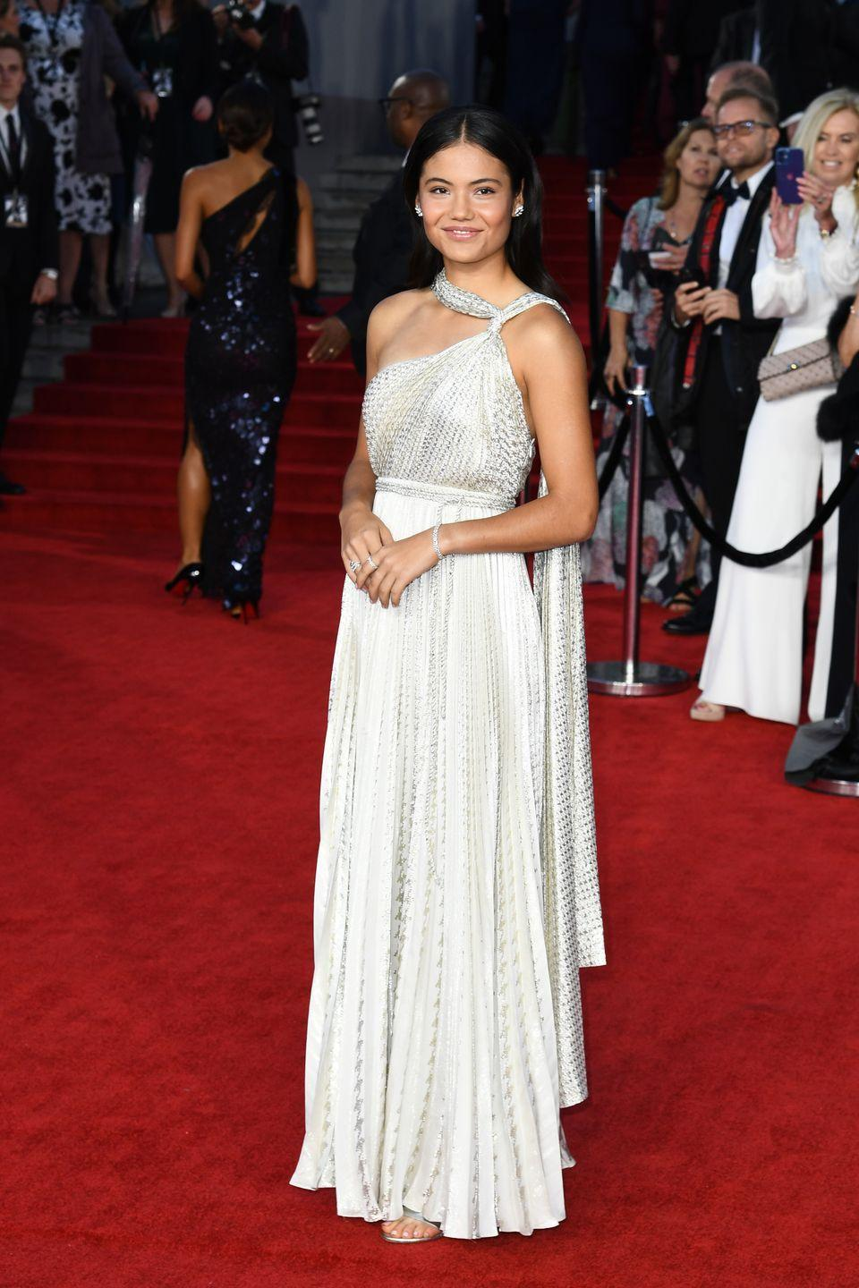<p>The tennis champion wore a Grecian-style Dior dress and Tiffany & Co jewellery. </p>