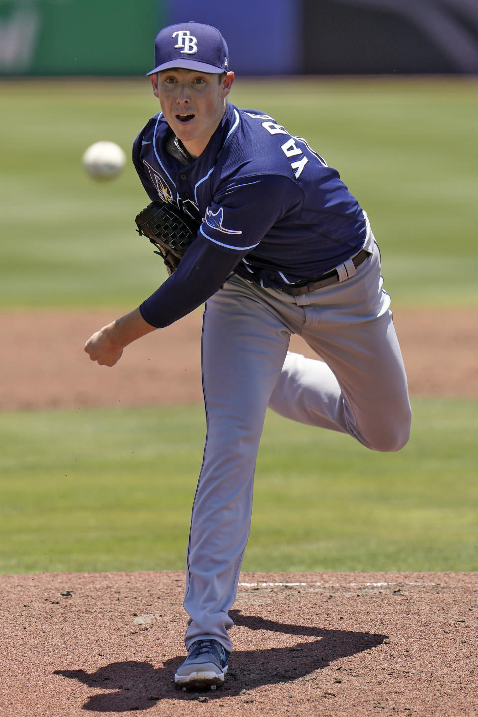 Tampa Bay Rays' Ryan Yarbrough pitches to the Toronto Blue Jays during the first inning of a baseball game Monday, May 24, 2021, in Dunedin, Fla. (AP Photo/Chris O'Meara)