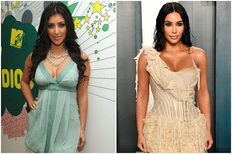 2007 vs now: Kim has gone from being a regular at Hollywood club nights to exclusive fashion events and parties (Getty Images)