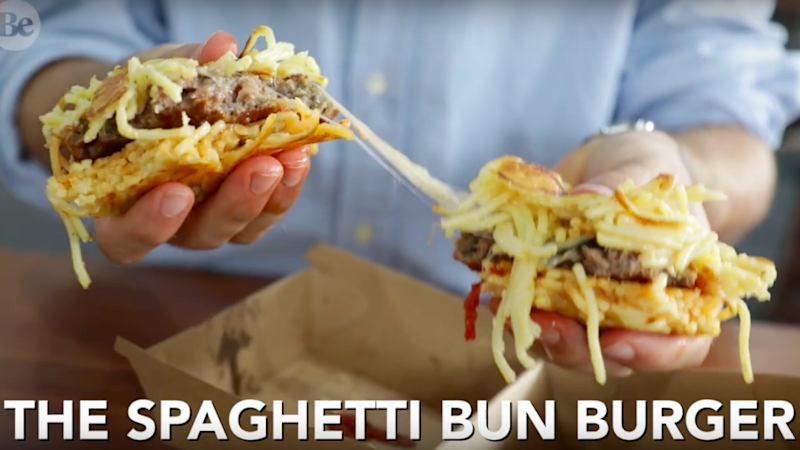 The Spaghetti- bun Burger is every carb lovers dream. Source: Be