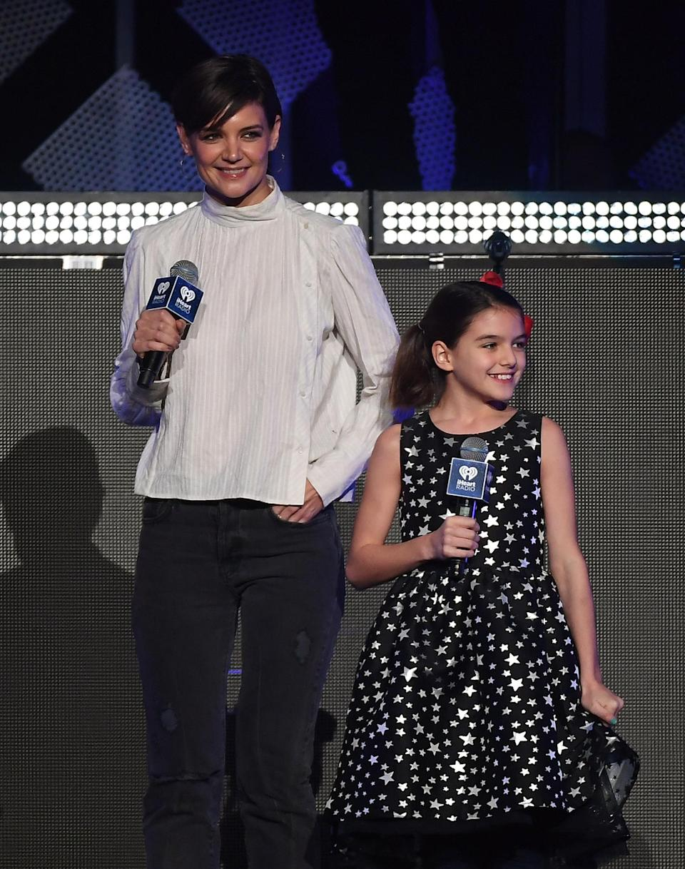 Katie Holmes and her daughter Suri Cruise on the Z100's iHeartRadio Jingle Ball in 2017.  Cruise recently celebrated his 14th birthday.  (Photo: via Angela Weiss / AFP Getty Images)