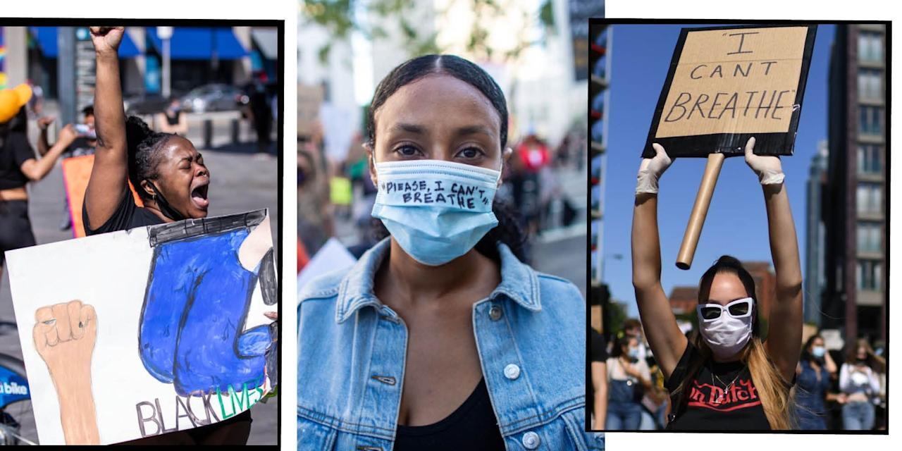 """<p>Over the weekend, people have marched in their thousands in cities across the USA and other cities in the world.</p><p>The marches are to decry the death of <a href=""""https://www.elle.com/uk/life-and-culture/a32695932/george-floyd-celebrity-reaction/"""" target=""""_blank"""">George Floyd - </a>a black man who died after a white police officer knelt on his neck for minutes during an arrest, while Floyd cried out: 'I can't breathe.' (The officer - Derek Chauvin, who had been fired following the incident, has since been arrested.) </p><p>Floyd's death is the latest in a long and harrowing list of black people dying during or following incidents with white police officers in the US. So, people came out to the streets in their thousands to say that<strong> black lives matter </strong>and enough is enough.<strong></strong></p><p>The marches started in Minneapolis, Minnesota, the city in which Floyd died a week ago today, and soon spread to Los Angles, New York City, San Francisco and in the UK, London, Manchester, Cardiff and beyond.</p><p>Here are some of the most powerful photos of people showing up for anti-racism marches.</p>"""