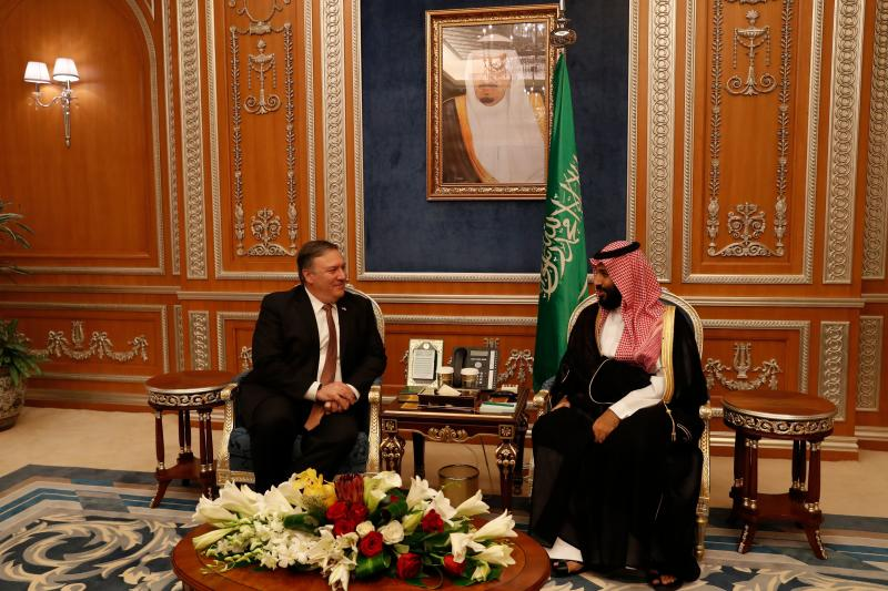 U.S. Secretary of State Mike Pompeo has been widely criticized for his friendly demeanor in public as he met with Saudi Crown Prince Mohammed bin Salman earlier this week to gather informationabout the apparent murder of Jamal Khashoggi. (LEAH MILLIS via Getty Images)