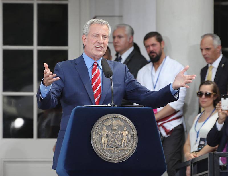 Mayor Bill de Blasio speaks at a ceremony honoring the members of the United States Women's National Soccer Team at City Hall on July 10, 2019 in New York City. The honor followed a ticker tape parade up lower Manhattan's