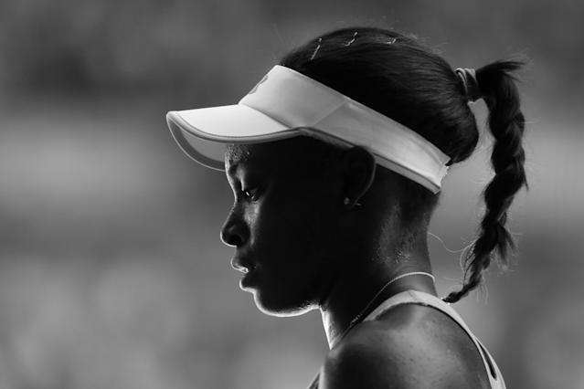 MELBOURNE, AUSTRALIA - JANUARY 24: (Editors Note. Image converted to B&W. Colour version available) Sloane Stephens of the United States looks on in her Semifinal match against Victoria Azarenka of Belarus during day eleven of the 2013 Australian Open at Melbourne Park on January 24, 2013 in Melbourne, Australia. (Photo by Julian Finney-Pool/Getty Images)
