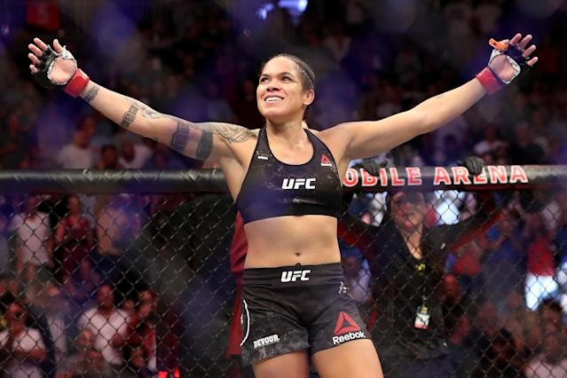 Amanda Nunes reacts after defeating Holly Holm (not pictured) at UFC 239 at T-Mobile Arena on July 6, 2019 in Las Vegas. (Getty Images)
