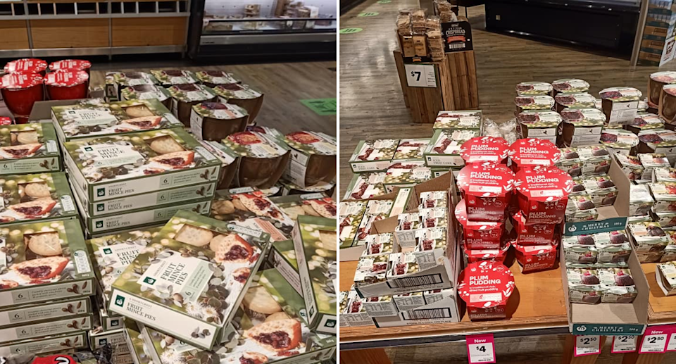 Woolworths display of fruit mince pies and Christmas puddings. Source: Facebook