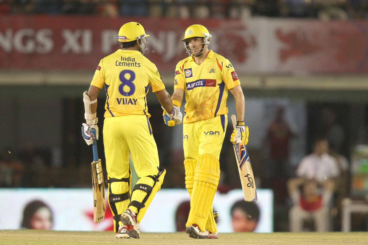 Murali Vijay of Chennai Super Kings congratulates Michael Hussey of Chennai Super Kings for reaching his fifty during match 11 of of the Pepsi Indian Premier League between The Kings XI Punjab and the Chennai Superkings held at the PCA Stadium, Mohal, India  on the 10th April 2013..Photo by Shaun Roy-IPL-SPORTZPICS  ..Use of this image is subject to the terms and conditions as outlined by the BCCI. These terms can be found by following this link:..https://ec.yimg.com/ec?url=http%3a%2f%2fwww.sportzpics.co.za%2fimage%2fI0000SoRagM2cIEc&t=1506391775&sig=rU_NK37rLh8vLko7lfcU_w--~D