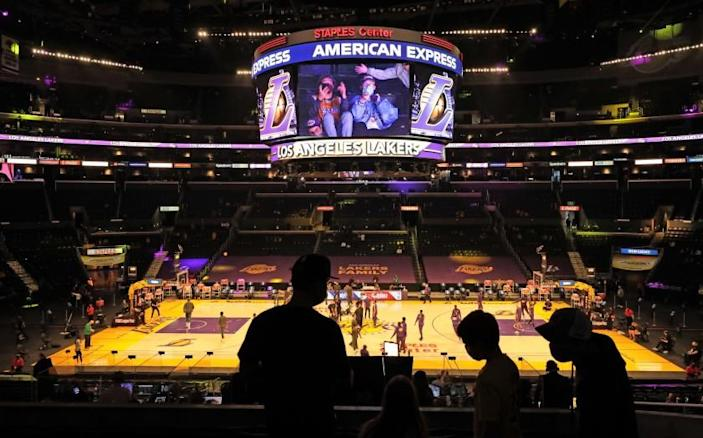 Fans take their seats before the Lakers take on the Boston Celtics at Staples Center on April 15, 2021.