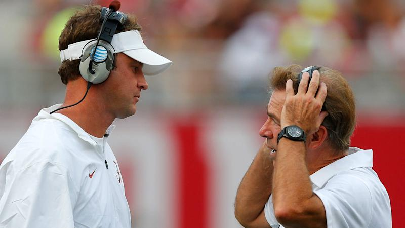 Lane Kiffin tweets hilarious photo of Nick Saban in ripped jeans