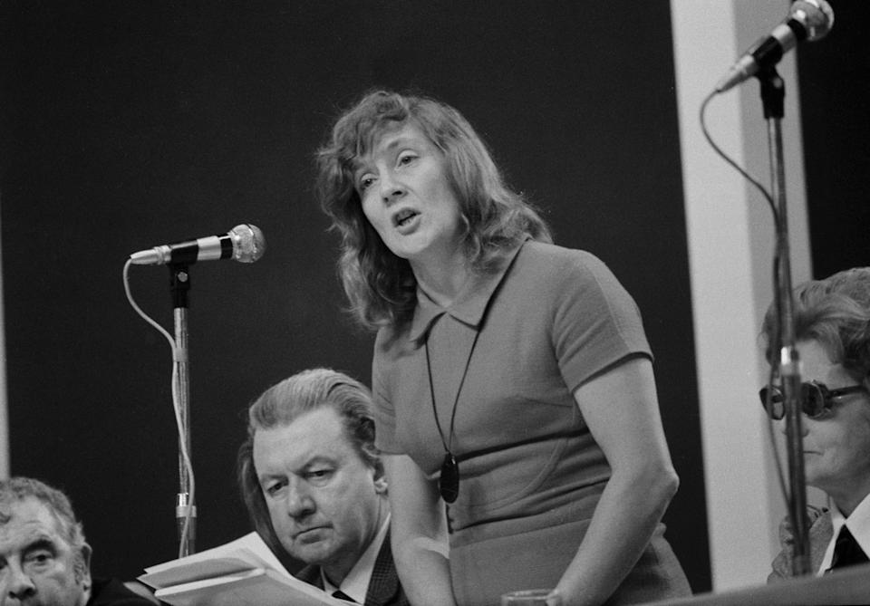 Williams addressing the Labour Party conference in Blackpool in 1972Getty