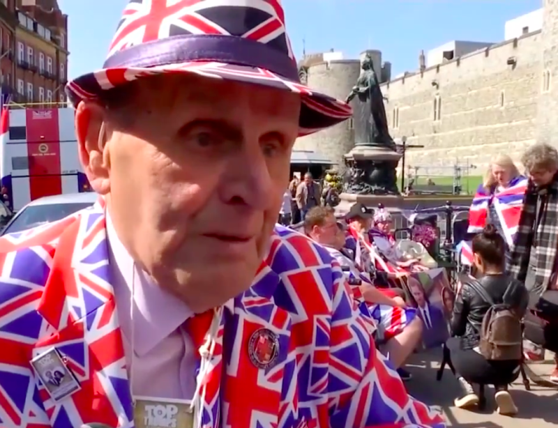 The suit is not typical royal wedding attire. (Inside Edition)