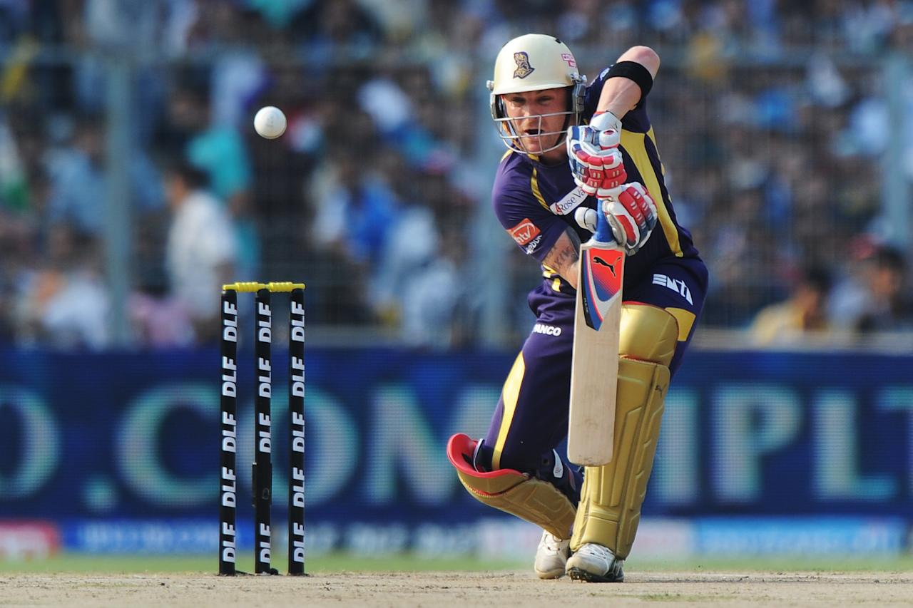 Kolkata Knight Riders batsman Brendon McCullum plays a shot during the IPL Twenty20 cricket match between Kolkata Knight Riders and Pune Warriors at The Eden Gardens in Kolkata on May 3, 2012.  RESTRICTED TO EDITORIAL USE. MOBILE USE WITHIN NEWS PACKAGE.  AFP PHOTO/Dibyangshu SARKAR        (Photo credit should read DIBYANGSHU SARKAR/AFP/GettyImages)