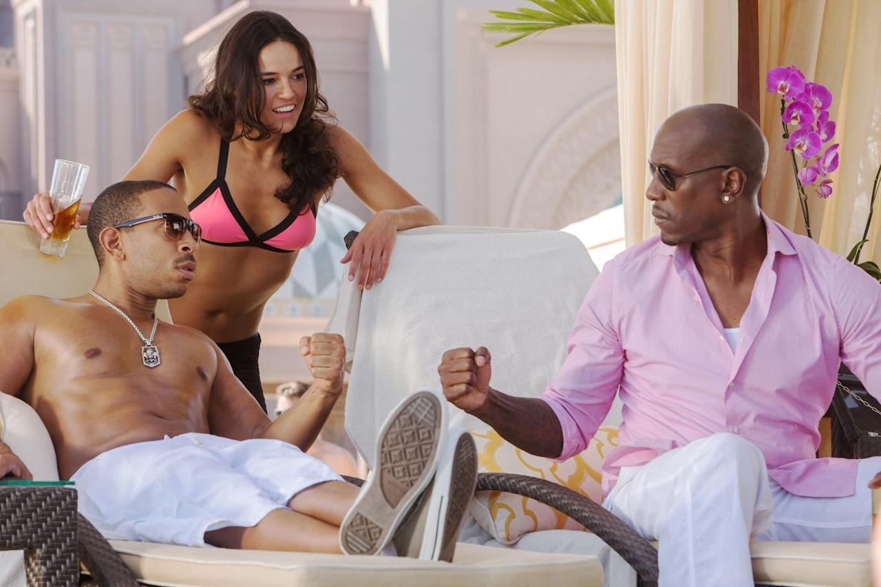 """<p>There are two important beach scenes in <strong>Furious 7</strong>. In the first, the group relaxes on the shores of Abu Dhabi after completing their harrowing rescue mission of the computer hacker, Ramsey (Nathalie Emmanuel). At the end of the action movie, Dom (Vin Diesel) and Brian (<a class=""""sugar-inline-link ga-track"""" title=""""Latest photos and news for Paul Walker"""" href=""""https://www.popsugar.co.uk/Paul-Walker"""" target=""""_blank"""" data-ga-category=""""Related"""" data-ga-label=""""https://www.popsugar.co.uk/Paul-Walker"""" data-ga-action=""""&lt;-related-&gt; Links"""">Paul Walker</a>) share a tender moment on the beach with their families, before driving off into the sunset together one last time.</p>"""