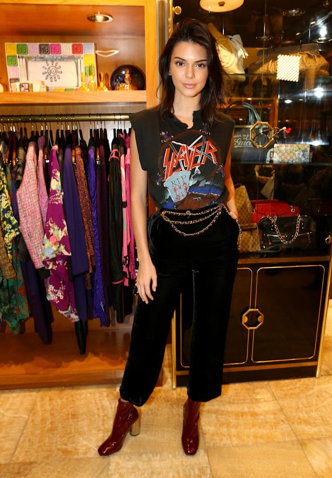 <p>Like an pro model, Kendall can work almost any look – including the rock chic vibe, as she proved at a store launch last month. [Photo: Rex] </p>