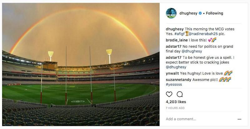 The 46-year-old radio star posted a photo of the Melbourne Cricket ground with a rainbow seen in the sky, along with the caption: