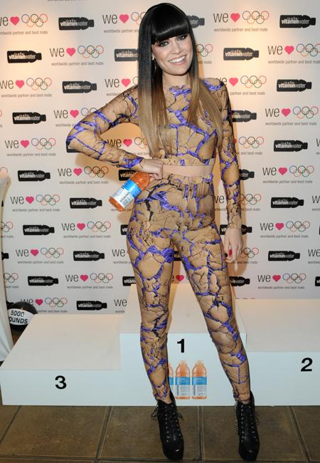 Celebrity fashion: Jessie J is famed for her crazy closet collaborations but this cracked print crop top and leggings comb is taking things a tad too far for us. The signer was at the Glacéau vitaminwater i-create opening ceremony but work commitments or not, it's no excuse!