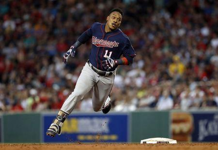FILE PHOTO: Jul 28, 2018; Boston, MA, USA; Minnesota Twins shortstop Jorge Polanco (11) rounds second on his way to a two-run triple against the Boston Red Sox during the third inning at Fenway Park. Mandatory Credit: Winslow Townson-USA TODAY Sports