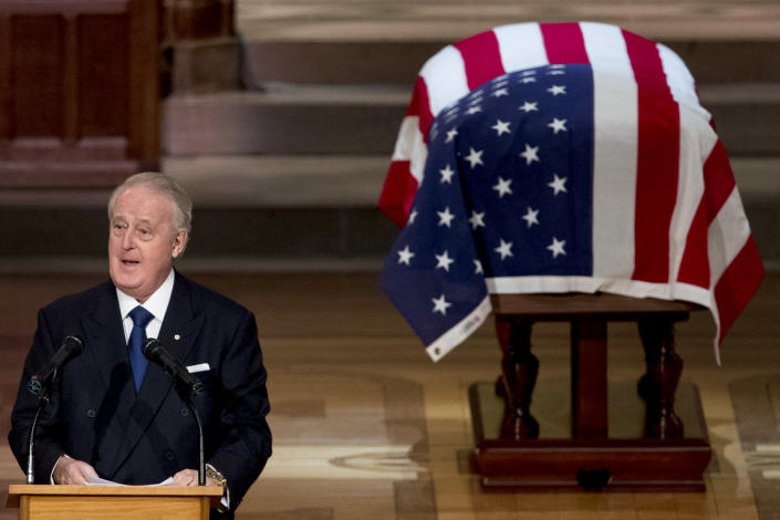 Former Canadian Prime Minister Brian Mulroney speaks during the State Funeral for former President George H.W. Bush at the National Cathedral, December 5, 2018 in Washington, D.C. (Photo: Andrew Harnik-Pool/Getty Images)