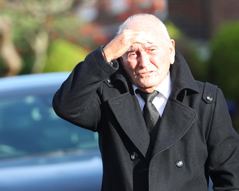 Comedian Tommy Cannon arrives at Hope Church in Lytham Saint Annes, Lancashire, ahead of the funeral of entertainer Bobby Ball. (Photo by Peter Byrne/PA Images via Getty Images)