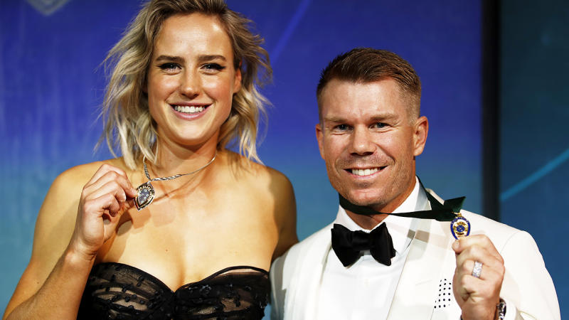 Ellyse Perry and David Warner, pictured here their medals at the Australian Cricket Awards.