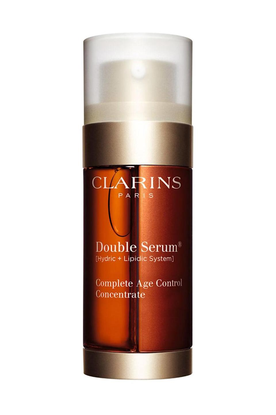 "<p>TWENTY plant extracts! For keeping you young-looking forever even though you've been having a midlife crisis since age 14. </p><p>$119, <a href=""http://shop.nordstrom.com/s/clarins-double-serum-complete-age-control-concentrate/3431180"" rel=""nofollow noopener"" target=""_blank"" data-ylk=""slk:shop.nordstrom.com"" class=""link rapid-noclick-resp"">shop.nordstrom.com</a>.</p>"