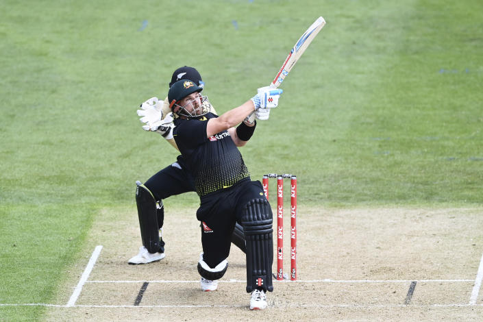 Australia's Aaron Finch bats during the second T20 cricket international between Australia and New Zealand at University Oval In Dunedin, New Zealand, Thursday, Feb. 25, 2021. (Andrew Cornaga/Photosport via AP)