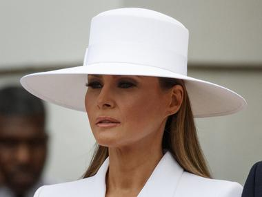 US First Lady Melania Trump embraces moment in spotlight with all-white outfit during French President Macron's state visit