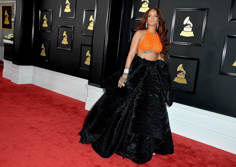 Rihanna attends the 59th GRAMMY Awards at STAPLES Center on February 12, 2017 in Los Angeles, CA, USA.