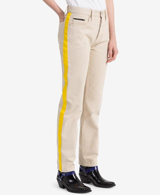 "<p>Striped Khaki Straight Jeans, $90 (on sale with code: VIP, valid until March 25 only, orig. $128), <a href=""https://www.macys.com/shop/product/calvin-klein-jeans-striped-khaki-straight-jeans?ID=5904499&RVI=PDP_5&CategoryID=3111&tdp=cm_choiceId~z5904499~xcm_pos~zPos5"" rel=""nofollow noopener"" target=""_blank"" data-ylk=""slk:macys.com"" class=""link rapid-noclick-resp"">macys.com </a> </p>"