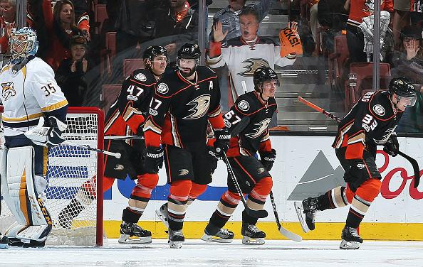 ANAHEIM, CA - MAY 14: Hampus Lindholm #47, Ryan Kesler #17, Rickard Rakell #67, and Jakob Silfverberg #33 of the Anaheim Ducks celebrate a goal in the second period against Pekka Rinne #35 of the Nashville Predators in Game Two of the Western Conference Final during the 2017 NHL Stanley Cup Playoffs at Honda Center on May 14, 2017 in Anaheim, California. (Photo by Debora RobinsonNHLI via Getty Images)