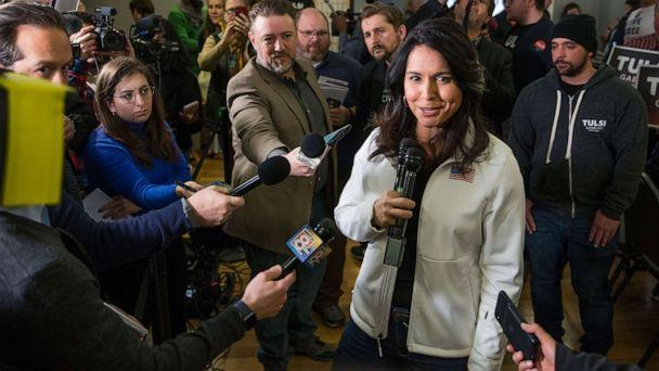 PHOTO: Democratic presidential candidate Rep. Tulsi Gabbard answers media questions following a campaign event, Feb. 9, 2020, in Portsmouth, N.H. (Scott Eisen/Getty Images)