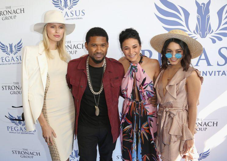 Karolina Kurkova, Usher Raymond, Emmanuelle Chriqui and Vanessa Hudgens attend The Inaugural $12 Million Pegasus World Cup Invitational. Hudgens wore a preppy outfit with a pair of John Lennon sunnies. (Photo: Getty Images)