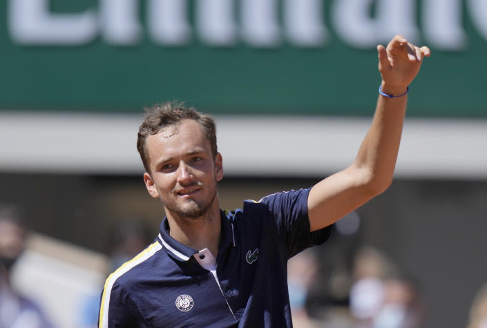 Russia's Daniil Medvedev celebrates after defeating Kazakhstan's Alexander Bublik during following their first round match on day two of the French Open tennis tournament at Roland Garros in Paris, France, Monday, May 31, 2021. (AP Photo/Thibault Camus)