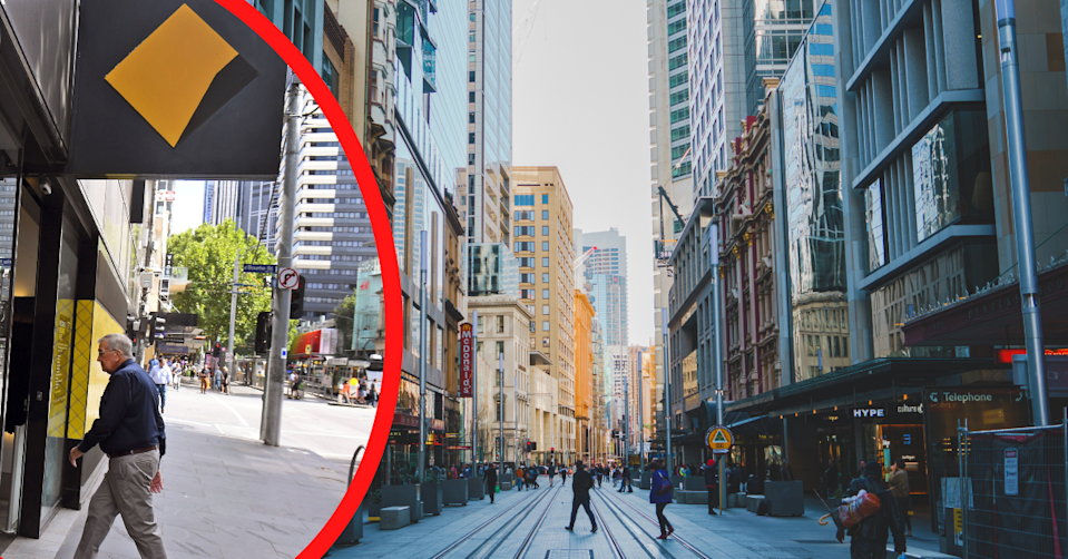 Sydney George Street and a man entering a CBA branch