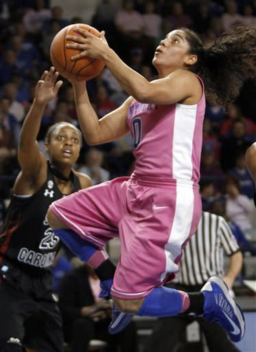 Kentucky's Jennifer O'Neill, right, shoots next to South Carolina's Tiffany Mitchell during the first half of an NCAA college basketball game at Memorial Coliseum in Lexington, Ky., Thursday, Feb. 14, 2013. (AP Photo/James Crisp)