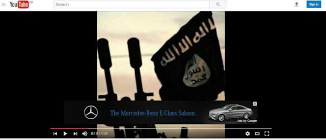 An example of an advertisement appearing on an ISIS video.