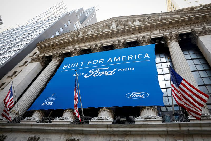 FILE PHOTO: Ford Motor Co. banner is displayed outside NYSE in New York