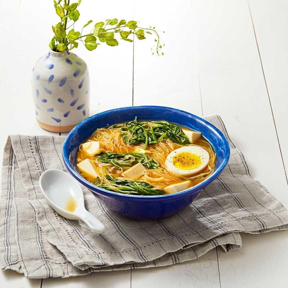 """<p>Miso paste gives this simple ramen recipe a serious umami boost.</p><p>Get the recipe from <a href=""""https://www.goodhousekeeping.com/food-recipes/easy/a35273/miso-spinach-noodles/"""" rel=""""nofollow noopener"""" target=""""_blank"""" data-ylk=""""slk:Good Housekeeping"""" class=""""link rapid-noclick-resp"""">Good Housekeeping</a>.</p>"""