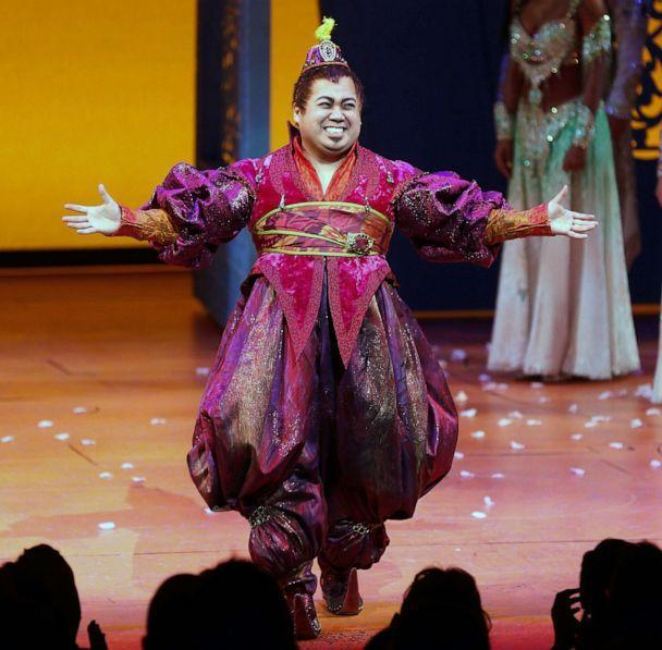 PHOTO: Actor Don Darryl Rivera takes a bow during curtain call at the the 'Aladdin' On Broadway Opening Night at New Amsterdam Theatre on March 20, 2014 in New York City. (Jemal Countess/Getty Images, FILE)