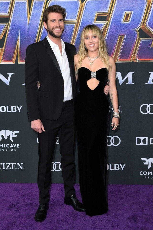 Liam Hemsworth and Miley Cyrus at the 'Avengers: Endgame' premiere in L.A. on April 22.