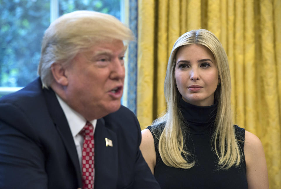 WASHINGTON, DC - APRIL 24:  (AFP OUT) U.S. President Donald Trump speaks along with his daughter Ivanka during a video conference with NASA astronauts aboard the International Space Station in the Oval Office at the White House April 24, 2017 in Washington, DC. (Photo by Molly Riley-Pool/Getty Images)